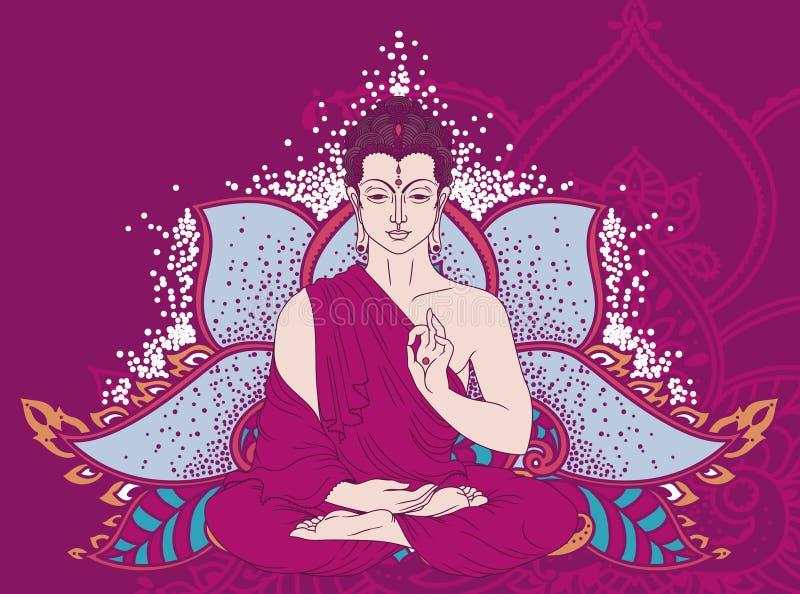 Buda na meditação na flor de lótus estilizado ilustração do vetor