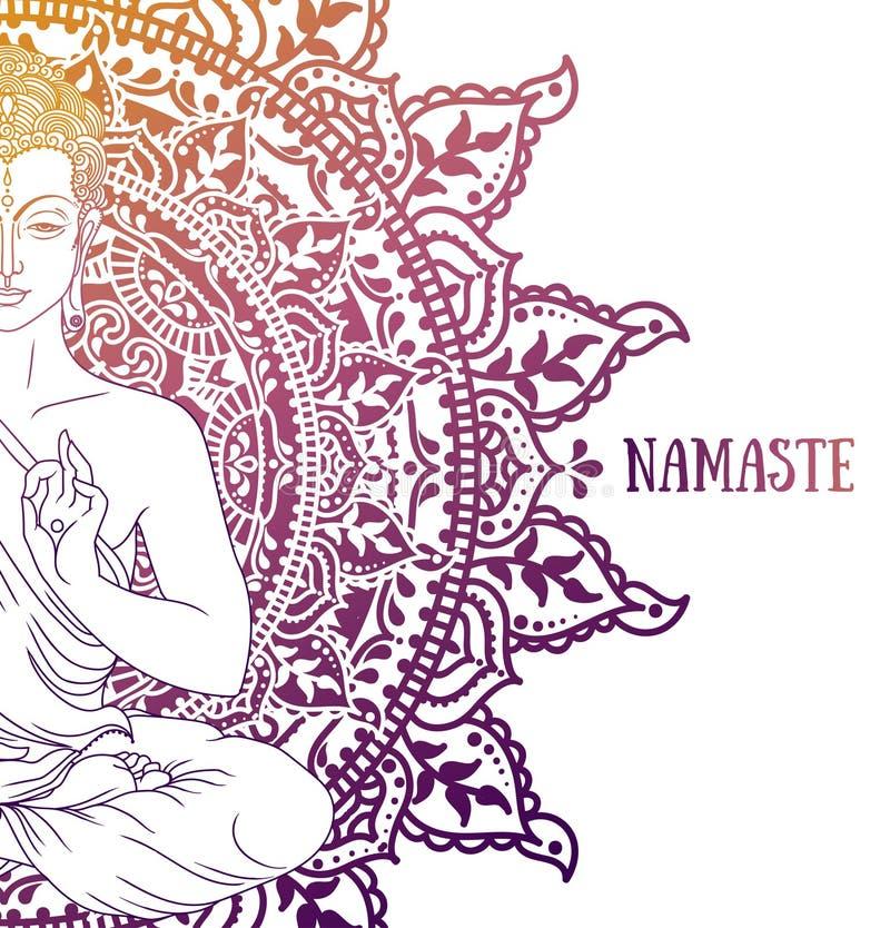 Buda na meditação na mandala bonita e mágica imagem de stock royalty free
