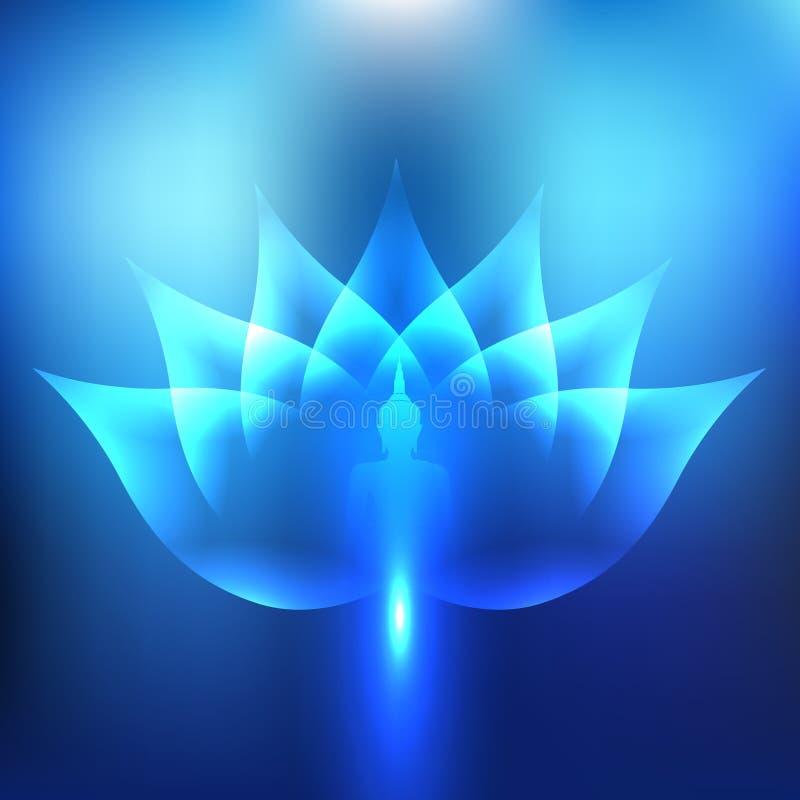 Buda no fundo da luz de Lotus Leaf Blue foto de stock royalty free