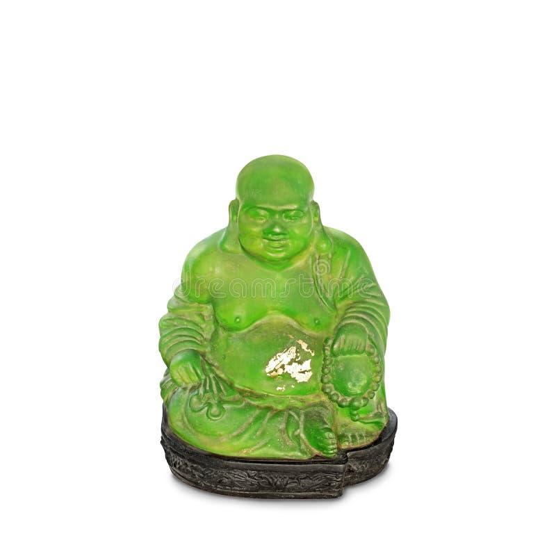 Buda o estatua sonriente de Budai en el fondo blanco, trayectoria de recortes fotografía de archivo libre de regalías