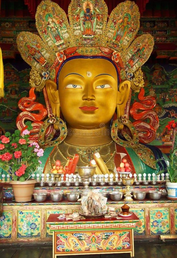 Buda ou Maitreya futuro no monastério de Thiksey, Índia fotos de stock royalty free