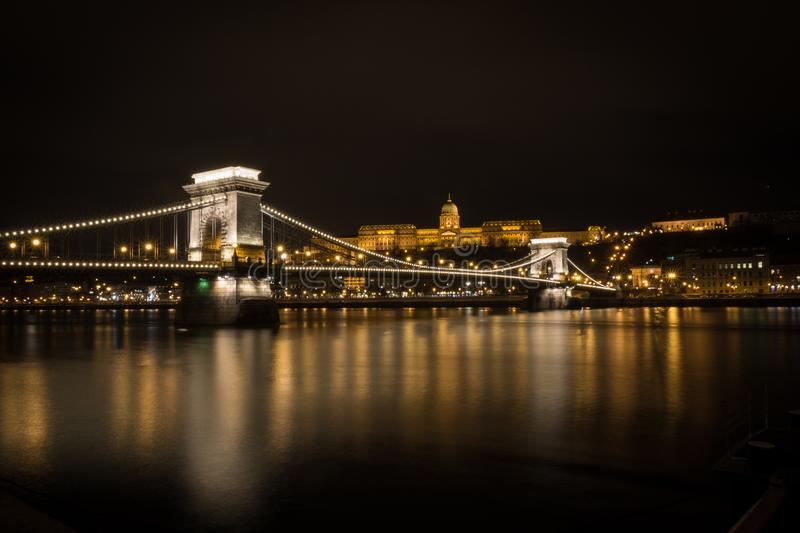 Buda Palace above the Chain Bridge. Long exposure photo of Buda Palace above the Chain Bridge in Budapest, Hungary stock photos