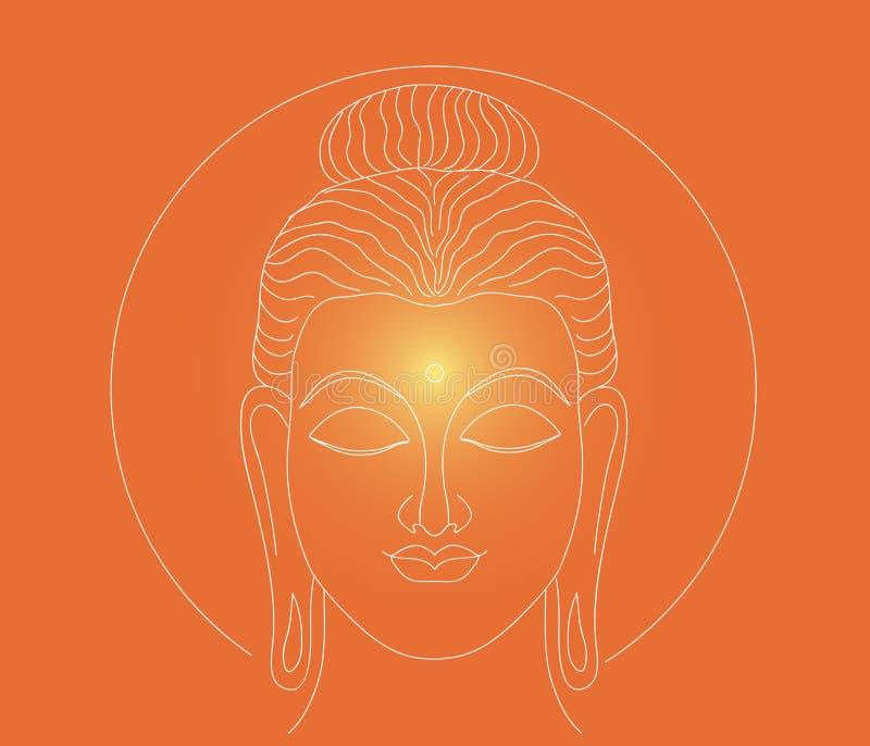 Buda que brilla intensamente figura ilustración del vector