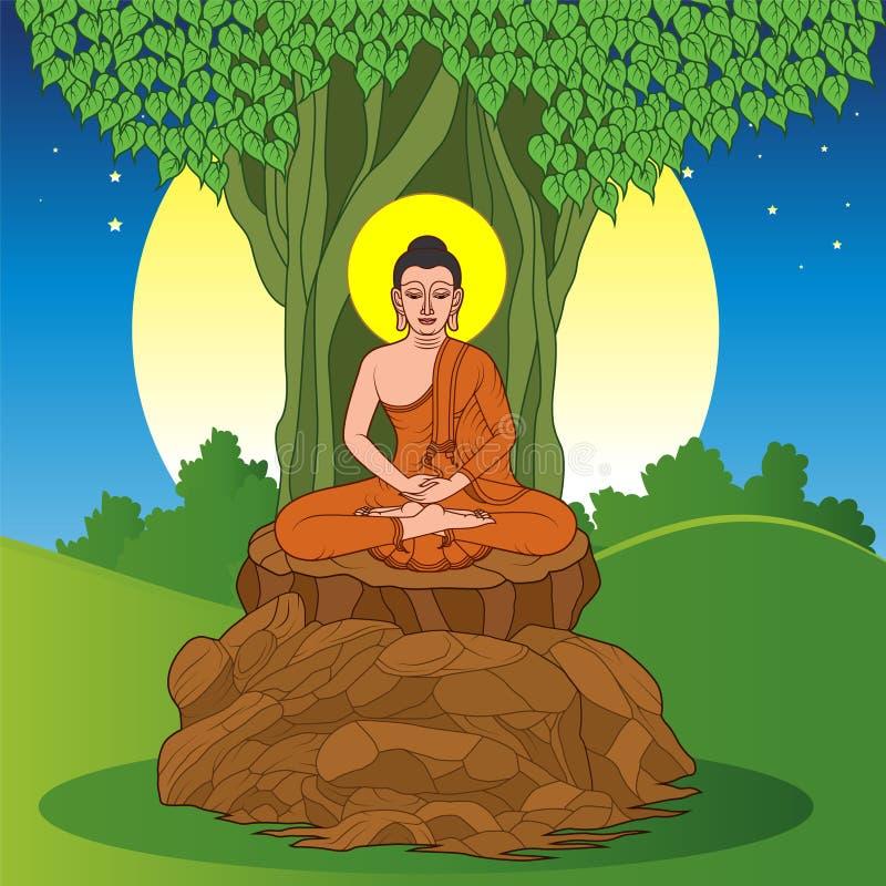 Buda que se sienta debajo del árbol de Bodhi libre illustration