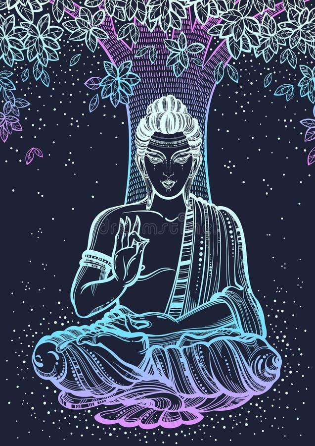 Buda que se sienta sobre el árbol de Bodhi Ejemplo de alta calidad gráfico del vector en los colores de neón Motivos espirituales ilustración del vector