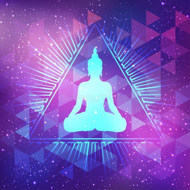 Buda que se sienta sobre fondo sagrado de la geometría Illustrat del vector stock de ilustración