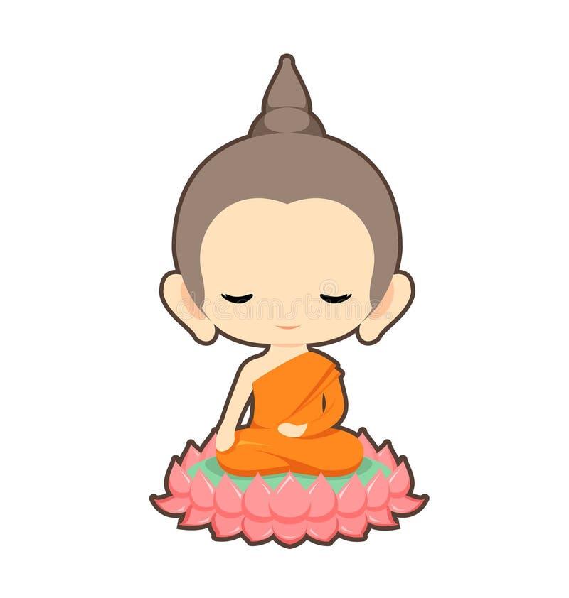 Buda que senta-se na flor de lótus ilustração do vetor