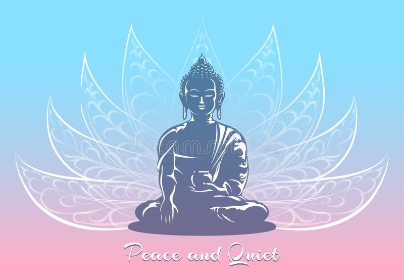 Buda que senta-se na pose dos lótus ilustração stock