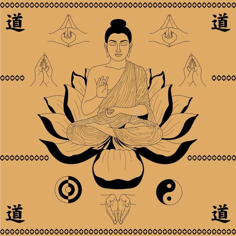Buda que senta-se nos lótus ilustração stock
