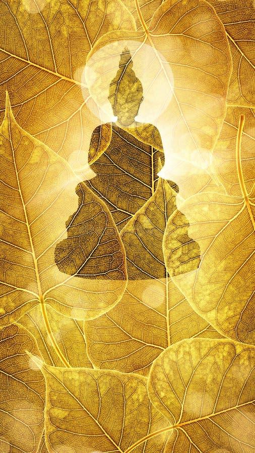 Buda se sienta en la exposición doble o el silhouet del fondo del boleaf del oro foto de archivo