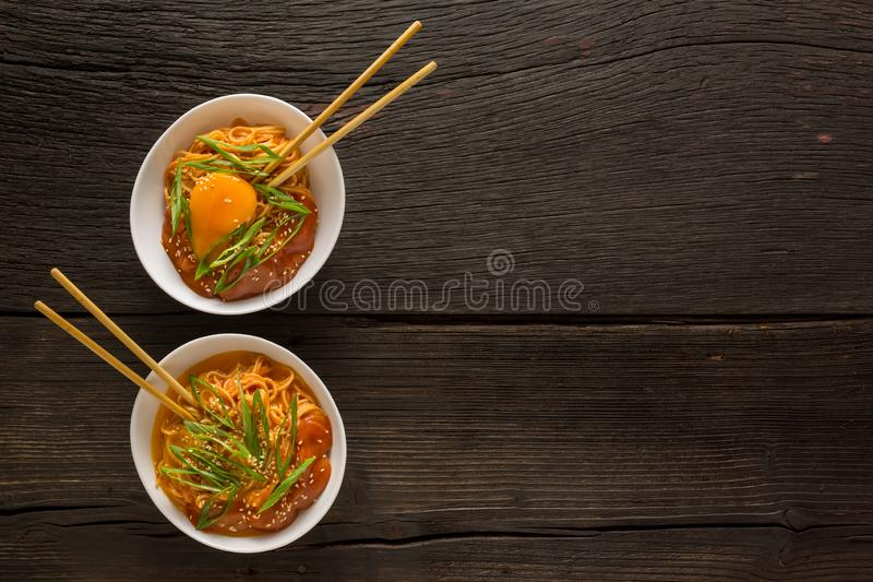 Budae jjigae, army stew, sesame seaweed, spicy, kimchi ramyun, spicy instant, omori kimchi stew ramen, noodle soup, nissin stock photos