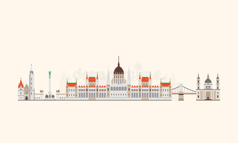 Budapest abstrakt begrepphorisont stock illustrationer