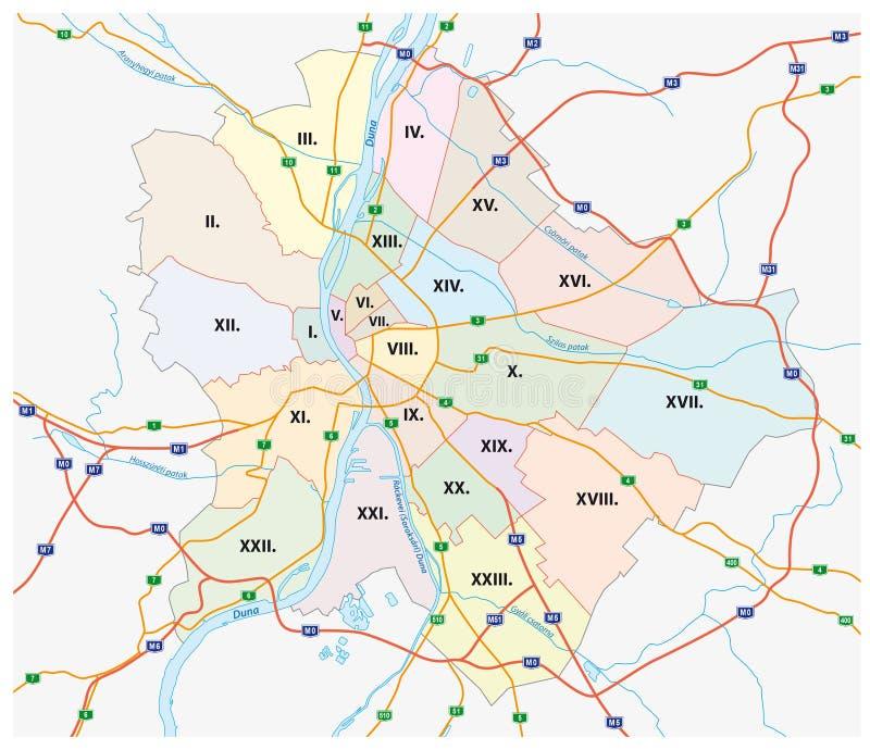 Budapest administracyjna i drogowa mapa ilustracja wektor