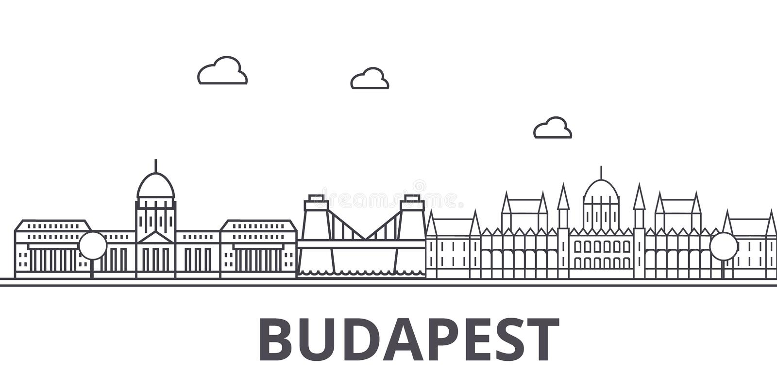 Budapest architecture line skyline illustration. Linear vector cityscape with famous landmarks, city sights, design. Icons. Editable strokes royalty free illustration