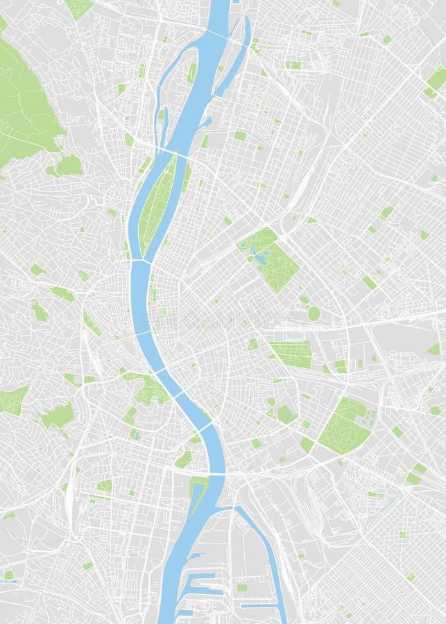 Budapest barwił wektorową mapę ilustracji