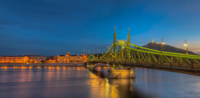 Download Budapest bridge stock photo. Image of lamps, destination - 73793102