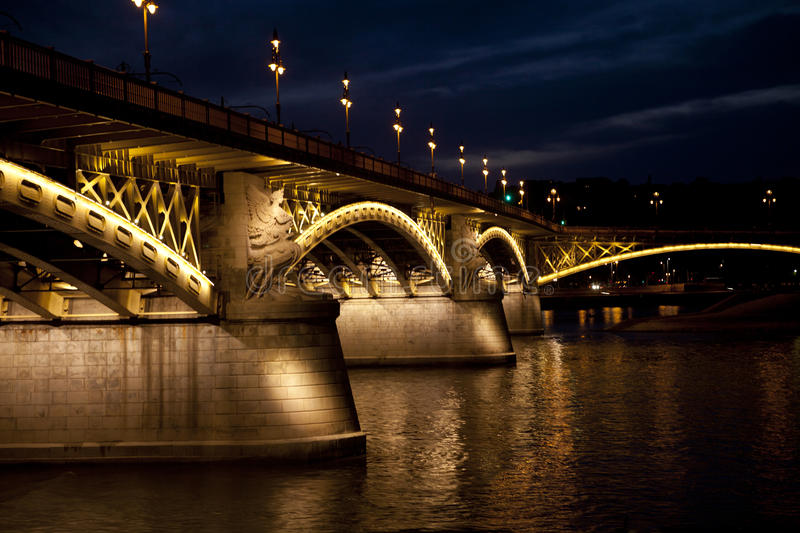 Budapest bridge with lights. Budapest, beautiful bridge with lights on Danube river, night scene stock photo