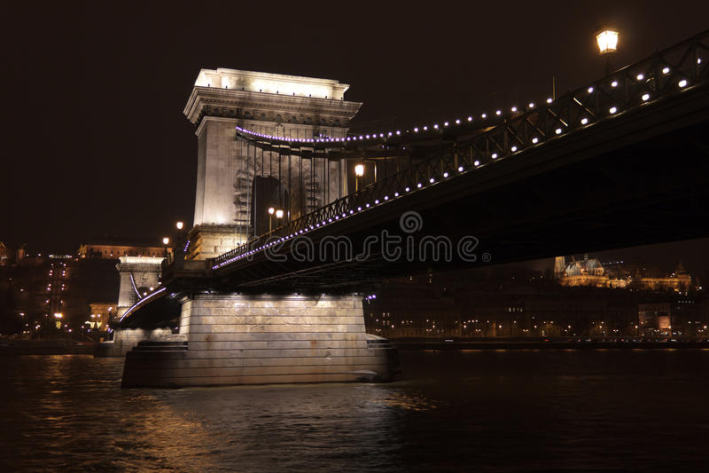 Budapest bridge at night royalty free stock image