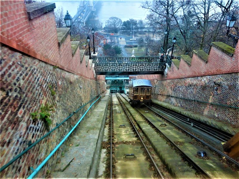 The Budapest Castle Hill Funicular or Budavári Sikló. Fog, infrastructure and transportation. The Budapest Castle Hill Funicular or Budavári Sikló is stock photo