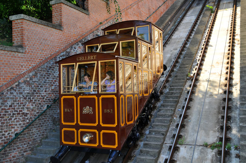 Budapest Castle Hill Funicular - car lifts Gellert stock photos