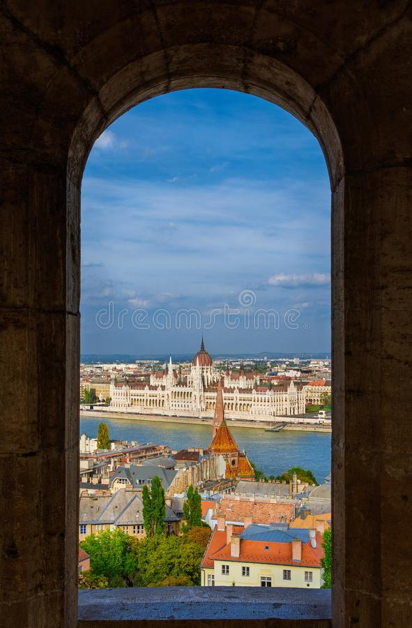 Budapest center from Fisherman`s Bastion Towers stock photography
