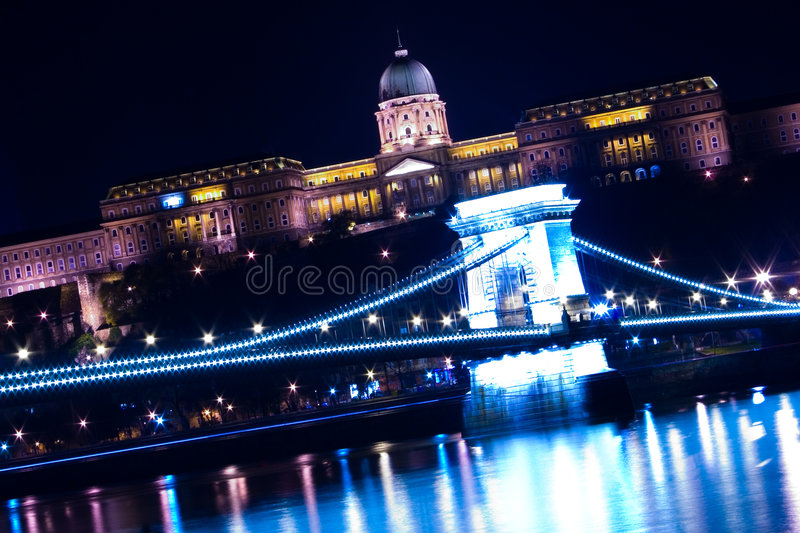 Download Budapest Chain Bridge And Castle Stock Photo - Image of flow, castle: 450766