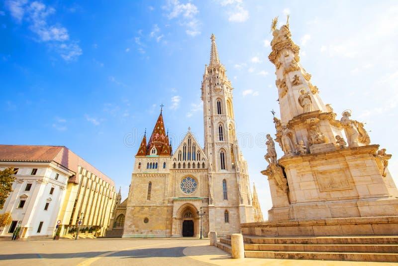 Budapest, Chiesa di Matthias e colonna della Santissima Trinità fotografia stock