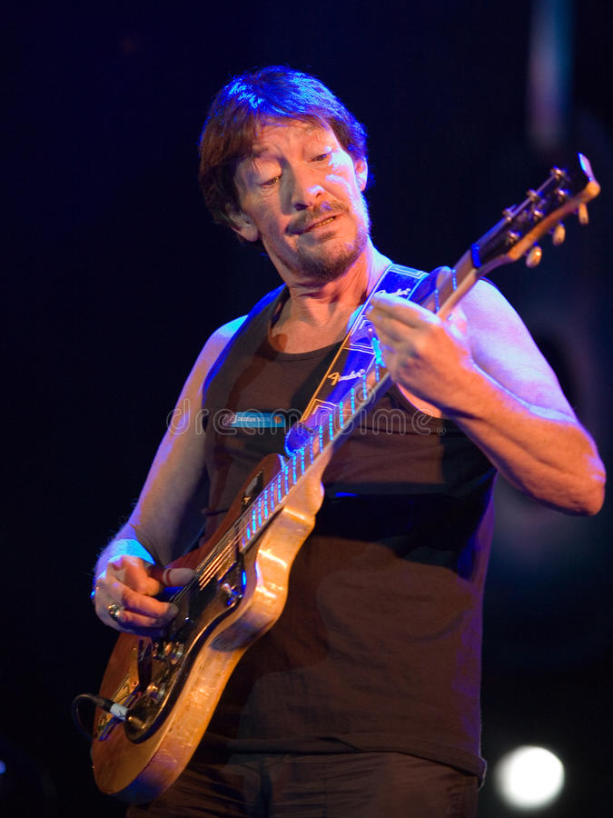 BUDAPEST: Chris Rea performs. BUDAPEST-FEBRUARY 04: Chris Rea performs on stage at Sportarena royalty free stock photography