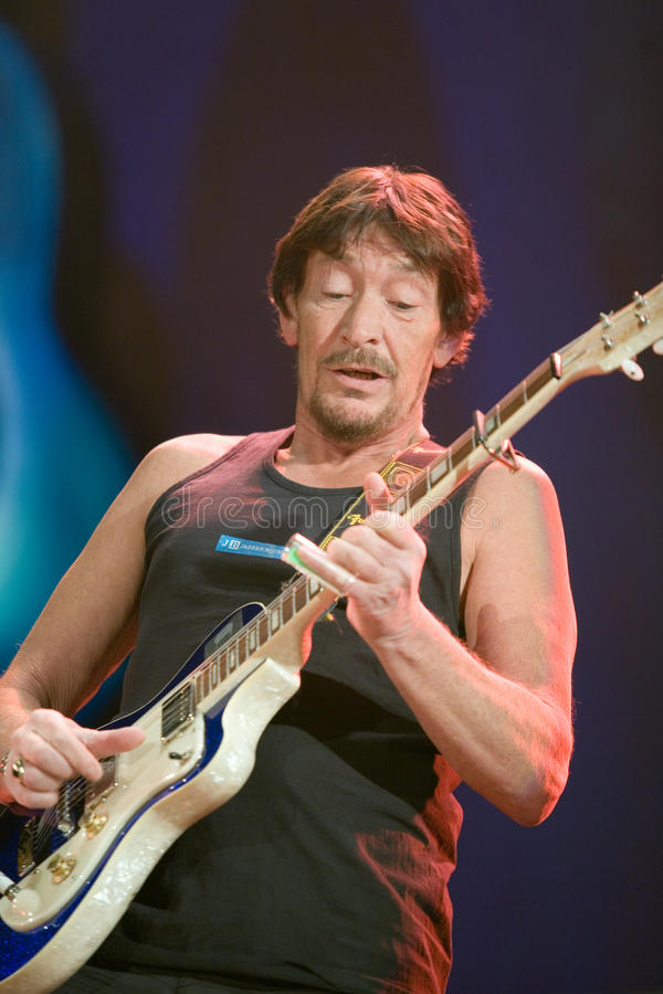 BUDAPEST: Chris Rea performs. BUDAPEST-FEBRUARY 04: Chris Rea performs on stage at Sportarena stock photography