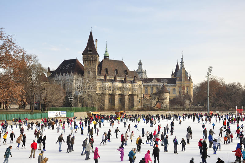 Download Budapest City Park Ice Rink Editorial Stock Photo - Image of budapests, castlein: 83885568