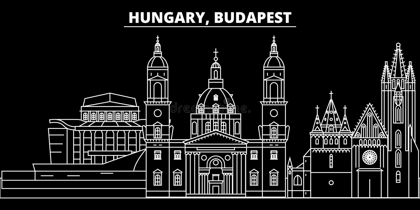 Budapest city silhouette skyline. Hungary - Budapest city vector city, hungarian linear architecture. Budapest city. Budapest city silhouette skyline. Hungary stock illustration