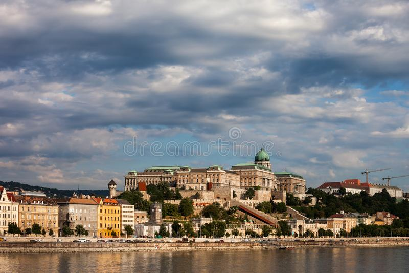 City Skyline Of Budapest With Buda Castle. Budapest city skyline from Danube river with Buda Castle on a hill, Hungary, Europe stock photography