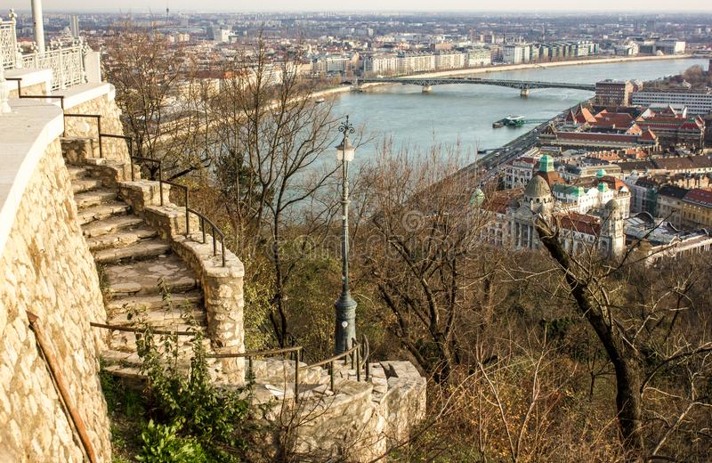Budapest cityscape afternoon over Danube river with the bridge in the background. Budapest cityscape afternoon over Danube river with the bridge in the royalty free stock images