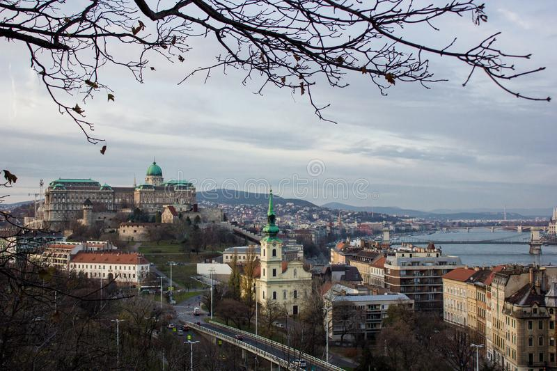 Budapest cityscape afternoon over Danube river with the castle in the background.  stock photography