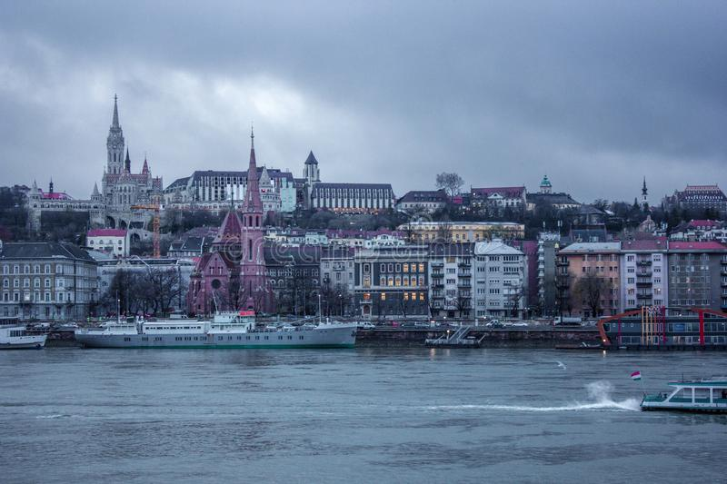 Budapest cityscape afternoon over Danube river with the castle in the background.  stock photos