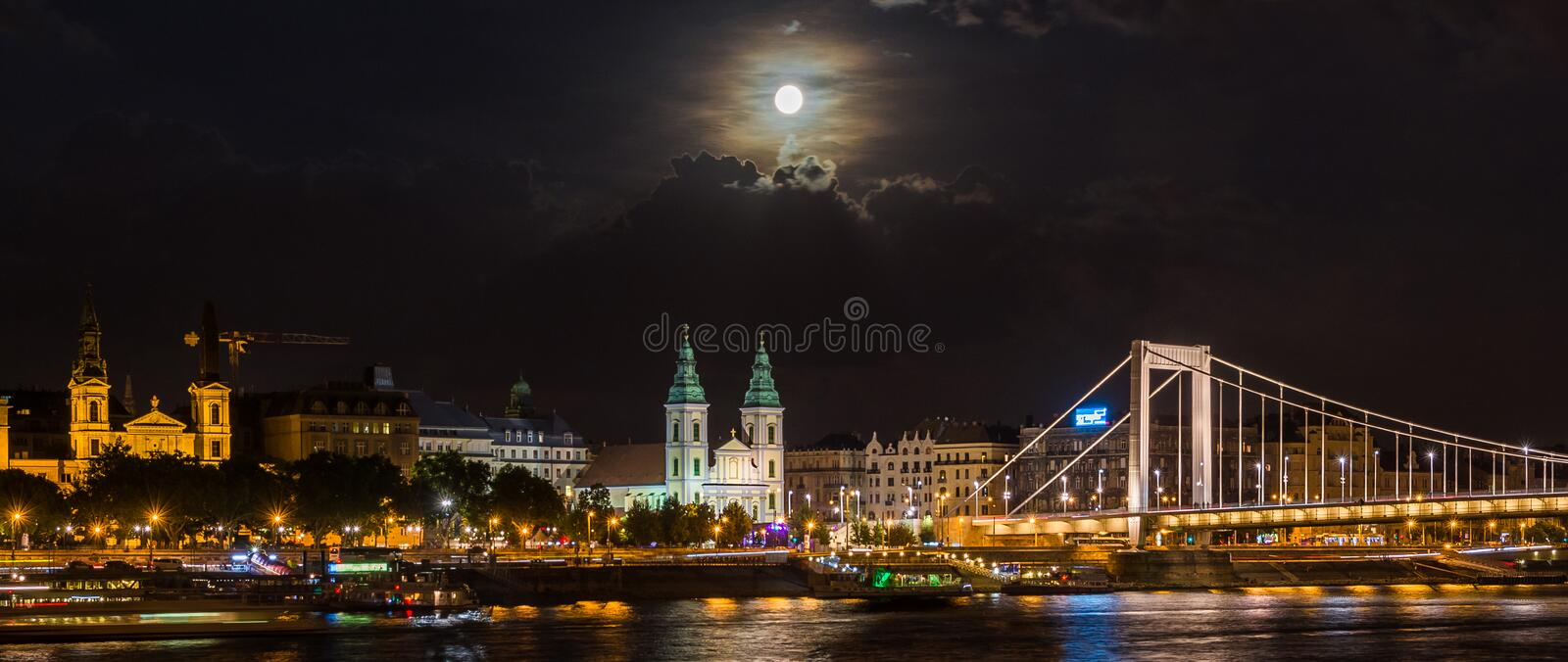 Budapest and Danube night view royalty free stock images