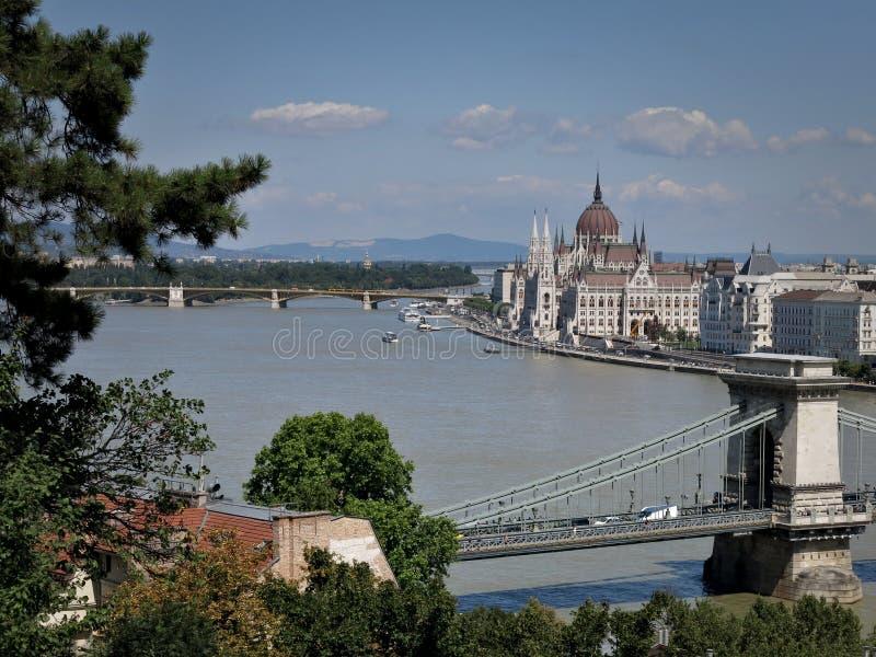Budapest Landscapes. Budapest, Danube, Parliament Building, Bridge, River, Urban Landscape, Turist Attraction stock image