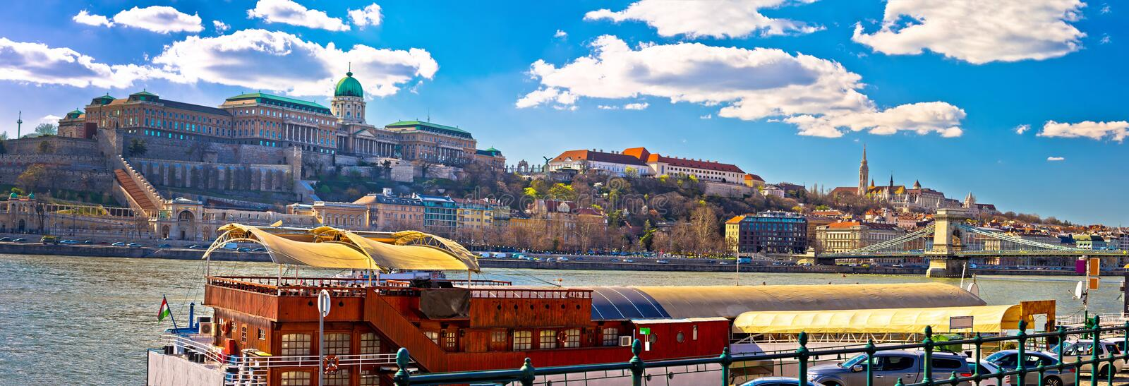 Budapest Danube river historic waterfront architecture springtime view. Capital of Hungary royalty free stock photo