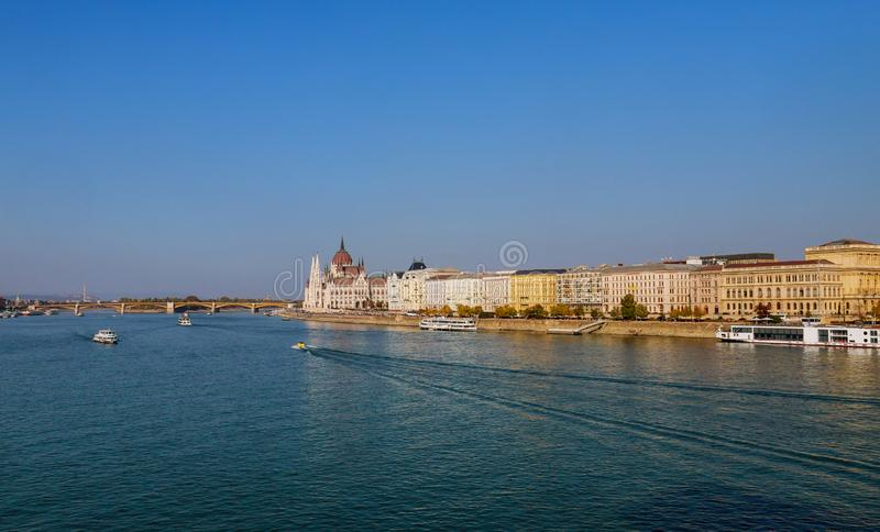 Budapest at dusk with Hungarian Parliament Building and Margaret Bridge on Danube river stock images
