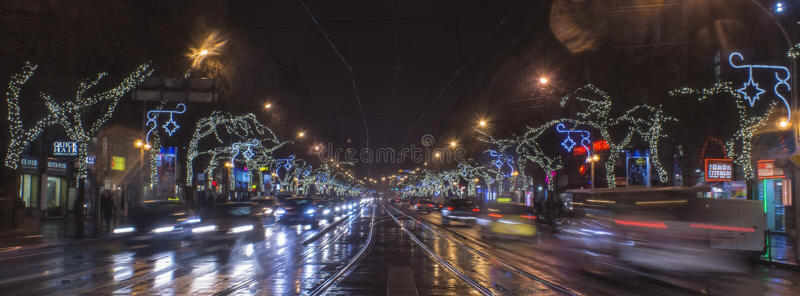 Budapest Elizabeth Boulevard, Christmas lights! royalty free stock photo