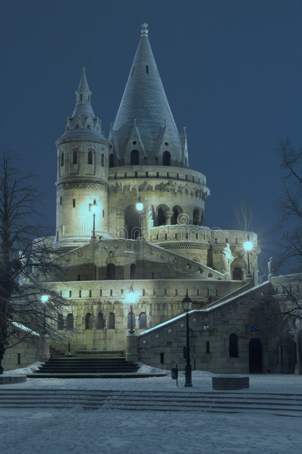 Budapest - Fisherman's Bastei. The building is the so called Fisherman's Bastion. This is snowy winter nightscene