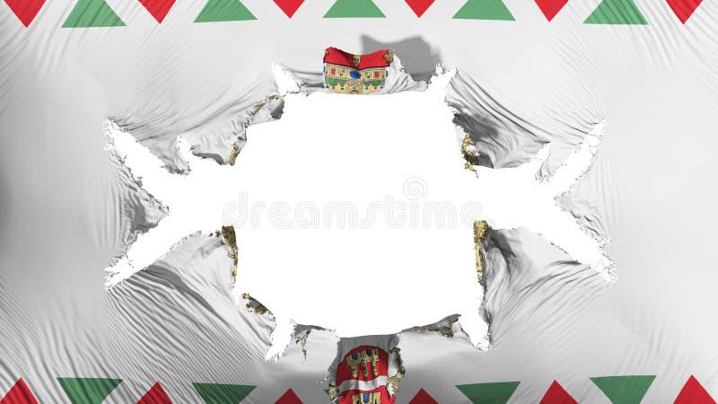 Budapest flaga z dużą dziurą ilustracja wektor
