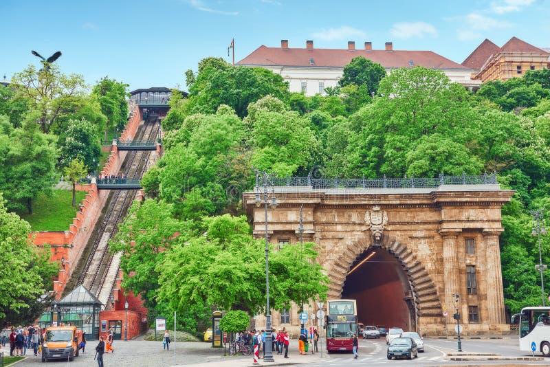 BUDAPEST, HANGARY- 2 MAI 2016 : Château royal funiculaire de Hungar image libre de droits