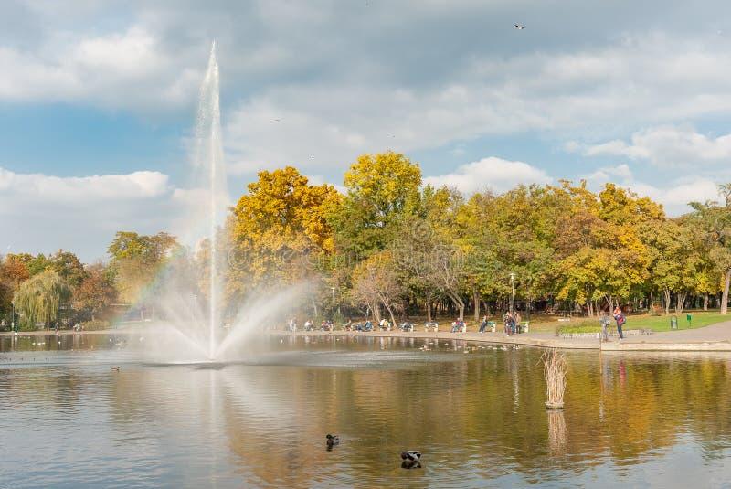 BUDAPEST, HONGRIE - 26 OCTOBRE 2015 : Les héros ajustent le parc et la fontaine et les canards de jouer dans l'eau Budapest, Hong image stock