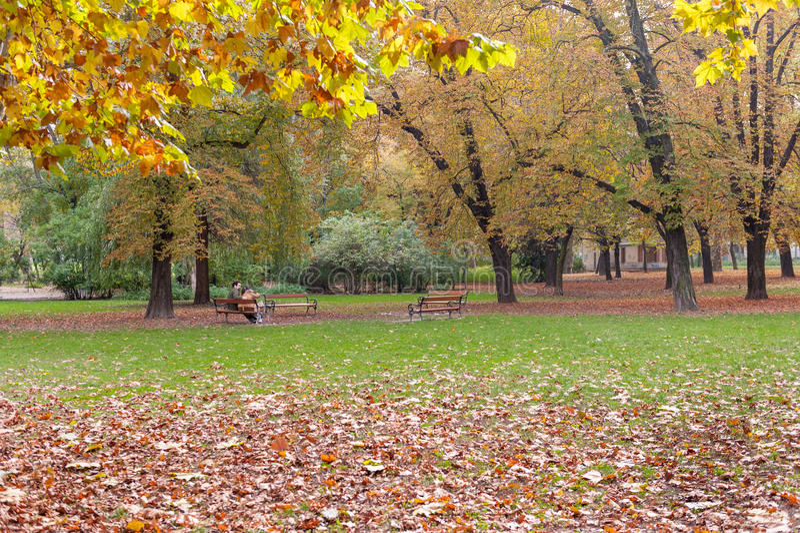 BUDAPEST, HONGRIE - 26 OCTOBRE 2015 : Parc dans la place de héros, Budapest Hongrie Le couple se repose sur le banc photo stock