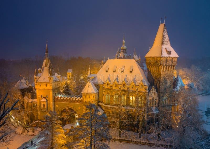 Budapest, Hongrie - scène aérienne d'hiver du beau château de Vajdahunyad en parc neigeux de ville photos libres de droits