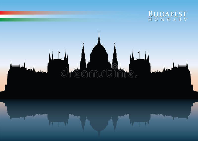 Budapest horisont stock illustrationer