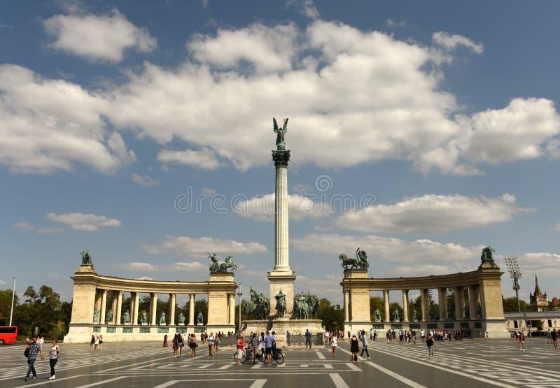 Budapest, Hungari - August 29, 2017: Millennium Monument at Hero stock image