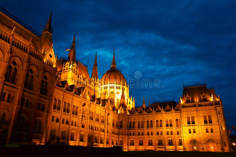 Budapest Hungarian Parliament at night golden hour in Hungary. In Europe royalty free stock image