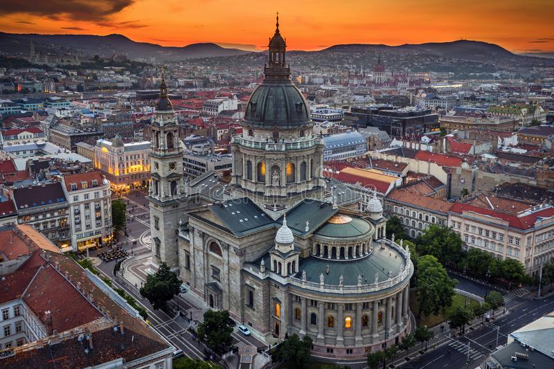 Budapest, Hungary - Aerial drone view of the beautiful St.Stephen`s Basilica Szent Istvan Bazilika with a golden sunset stock photography